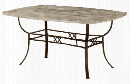 """4815dtb Brookside 66"""" Rectangle Dining Table With Ivory Color Fossil Stone Top And Metal Frame In Brown Powder Coat"""