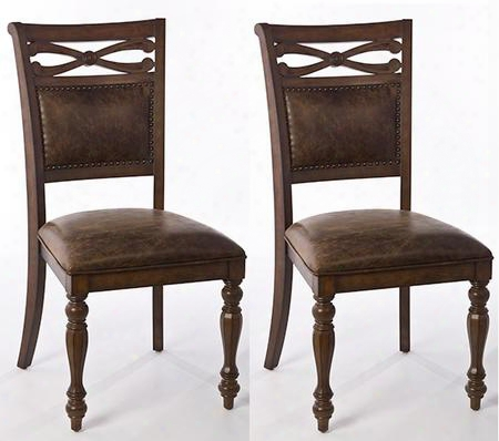 "5484-802 Set Of 2 Seaton Springs 23.25"" Dining Chairs With Aged Brown Faux Leather Upholstery Hardwood And Wood Composites Construction In Weathered Walnut"