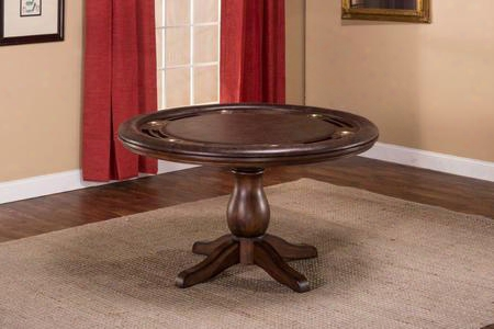 "6240gtb Chiswick 54"" Game Table With Cup Holder And Seating For Four In Brown Cherry Faux Leeather"