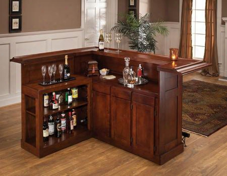 """62578axche Classic 78"""" Large Bar With 12 Wine Bottle Storage Side Bar Foot Rest China Oak And Wood Veneer Mdf Construction In Cherry"""