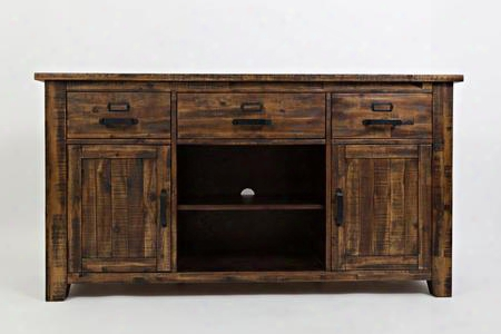 """Cannon Valley Collection 1512-60 60"""" Media Unit With Adjustable Shelves And Three Drawers In Distressed Medium"""