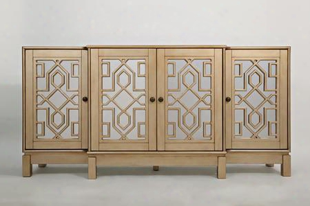 "Casa Bella Collection 1555-70 70"" Mirroted Console With Wire Management System And Mirrored Doors In Champagne"