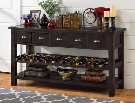 "Prospect Creek Collection 257-89 60"" Wine Rack/server With Solid Reclaimed Pine Lightly Distressed Finish And Casual Style In Deep"