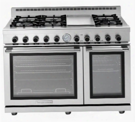 "Rn482gpss 48"" Next Series Range With A Panorama Oven Door 6 Gas Brass Burners 5.7 Cu. Ft. Maij Oven Capacity 2 Gas Ovens And Griddle: Stainless"