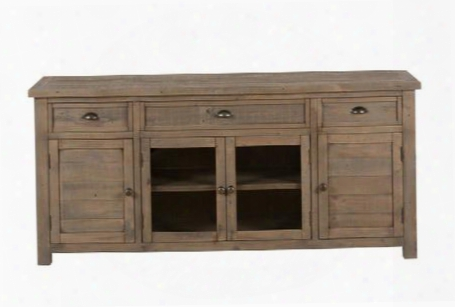 """Slater Mill Collection 942-70 70"""" Reclaimed Pine Media Unit With Three Drawers Two Wood Doors And Two Side Cabinets In Hand-finished Medium Brown"""