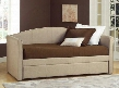 1017DBT Siesta Daybed with Trundle Included Pine Wood Construction and Tweed Fabric Upholstery in Beige