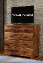 "1406-790 Madera 44"" Media Chest with 4 Drawers Flap-Style Top Brushed Nickel Handles and Sisso (Indian Rosewood) Construction in Natural Wood"
