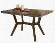 "4232-814 Arbor Hill 60""-78"" Rectangular Dining Table with Butterfly Leaf Extension and Oil Rubbed Bronze Decorative Accents in Chestnut"