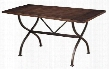 """4671CTBR Cameron 72"""" Rectangular Counter Height Table with Dark Grey Metal Accent Base and Rubber Wood Construction in Chestnut Brown"""