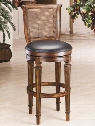 "61909 Dalton 45"" Leather Upholstered Cane Back 360 Degree Swivel Bar Stool with Leather Seat and Wood Frame in Distressed"