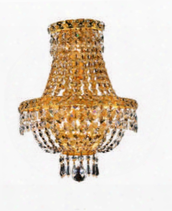2528w12g/ss 2528 Tranquil Collection Wall Sconce W/ Neck W12in H17in E7in Lt: 3 Gold Finish (swarovski Strass/elements
