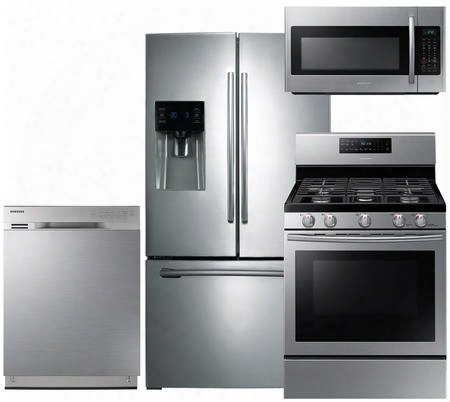 """4-piece Stainless Steel Kitchen Package With Rf263beaesr 36"""" French Door Refrigerator Nx58h5600ss 30"""" Freestanding Gas Range Dw80j3020us 24"""" Full Console"""