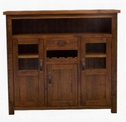 "4321-890 Oubtack 58.6"" Long Wine Rack With 3 Doors 1 Drawer 1 Open Compartment And Acacia Wood Construction In Distressed Chestnut"