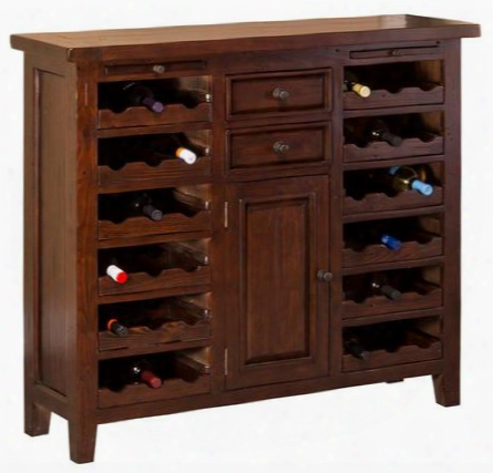 "4793-948w Tuscan Retreat 42"" Wine Console With 36 Bottle Capacity 1 Door 2 Drawers And Reclaimed Timber Solid Wood Construction In Park Avenue Rustic"
