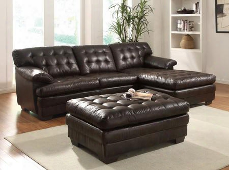 507702pc Nigel 2 Pc Living Room Set With Sectional Sofa And Ottoman In Dark