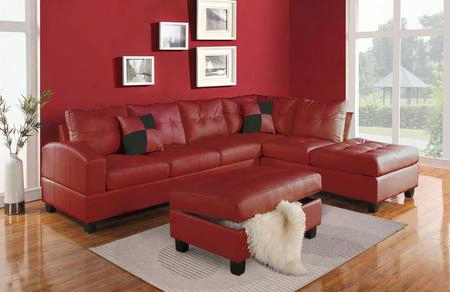 511852pc Kiva 2 Pc Living Room Set With Sectional Sofa And Ottoman In Red