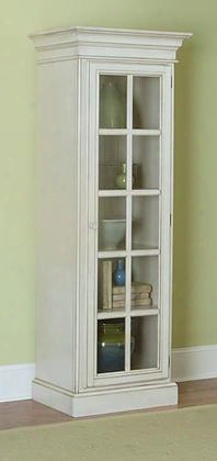 5265-896 Pine Island Small Library Cabinet With 5 Wooden Shelves Glass-fronted French Door Pine Solids And Lumber Sides Construction In Old White