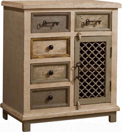 "5732-886 Larose 28.25""x32.5"" Cabinet With 5 Drawers 1 Chicken Woven Wire Door 1 Shelf And Mangifera Indica (mango Wood) Construction In Dove Grey And Atnique"