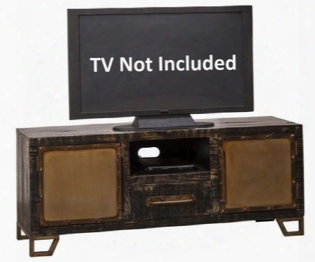 "5806-890 Bridgewater 60"" Entertainment Unit With 2 Doors 1 Drawer Flat Screen Tv Platform Nail Head Trim And Mango Wood Construction In Bl Ack Wood And Zinc"