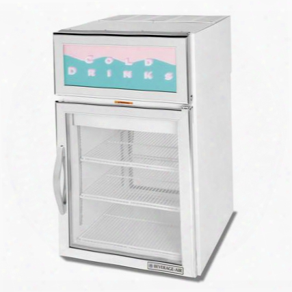 Crd5-1w-g One Section Countertop Pass-through Display Refrigerator With 2 Swing Gllass Doors 5.5 Cu.ft. Capacity White Exterior And Top Mounted