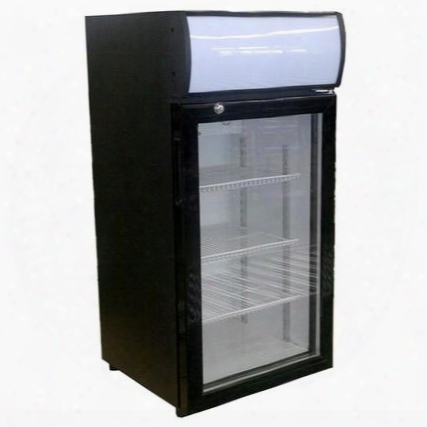 Ctr3-1-b-led One Section Countertop Reach-in Display Rrefrigerator With 1 Swing Glass Door 3 Cu.ft. Capacity Black Exterior And Top Mounted