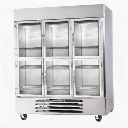 """Fb72-5hg 75"""" Vista Series Three Section Glass Half Door Reach-in Freezer 72 Cu.ft. Capacity Stainless Steel Front Robust Gray Painted Exterior Sides"""
