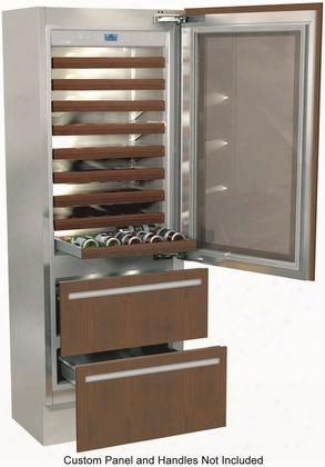 """Fi30bdw-rgo 30"""" Integrated Series Built-in Wine Cellar With 72 Bottle Capacity 5.5 Cu. Ft. Total Refrigerator Capacity Riserva Trimode 9 Wooden Shelves And"""