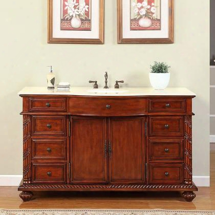 "Fs-0268-cm-uwc-60 60"" Single Sink Cabinet With 9 Drawers 2 Doors Crema Marfil Marble Top And Undermount White Ceramic Sink (3-hole) In Brown"