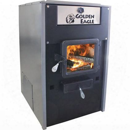 "Ge7700 Golden Eagle 26"" Log Length Wood Furnace With Large Viewing Window Firebrick Lined Steel Firebox And An Insulated Steel"