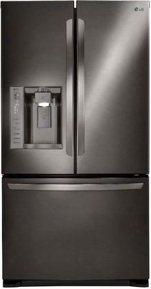 """Lfx25973d 36"""" Ada Compliant French Door Refrigerator With 24.1 Cu. Ft. Capacity Dual Ice Makers Smart Cooling System And Door Alarm: Black Stainless"""