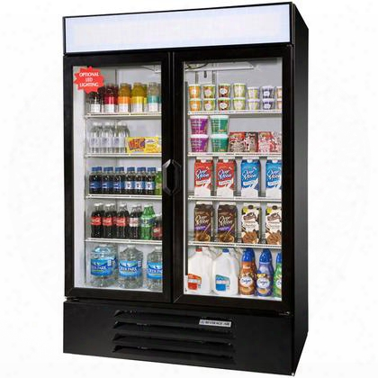 "Lv49-1-b-led Lumavue 52"" Two Section Refrigerated Glass Door Merchandiser With Led Lighting 49 Cu.ft. Capacity Black Exterior And Bottom Mounted"