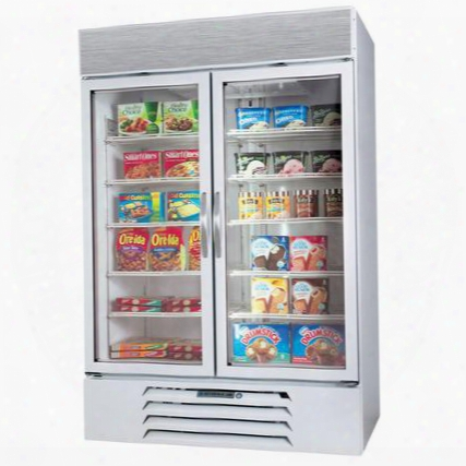"Mmf49-1-w-el Marketmax 52"" Two Section Glass Door Reach-in Merchandiser Freezer With Led Lighting 49 Cu.ft. Capacity White Exterior Electronic Lock And"