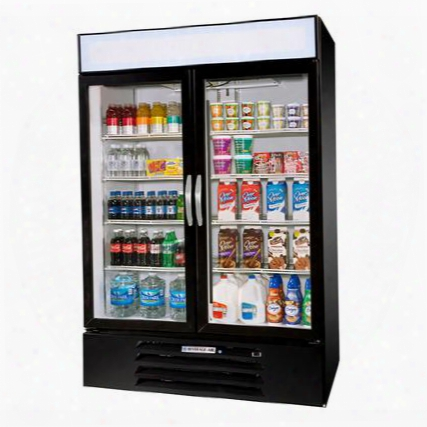 "Mmr44-1-b-led Marketmax 47"" Two Section Glass Door Reach-in Merchandiser Refrigerator With Led Lighting 45 Cu.ft. Capacity Black Exterior And Bottom Mounted"
