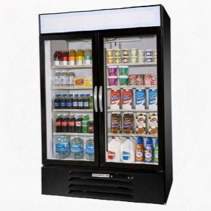 "Mmr49-1-b-el Marketmax 52"" Two Section Glass Door Reach-in Merchandiser Refrigerator With Led Lighting 49 Cu.ft. Capaci Ty Black Exterior Electronic Lock And"