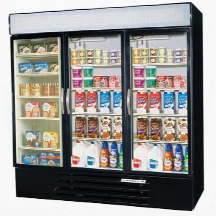 Mmrf72-5-b-led Marketmax Three Section Glass Door Reach-in Dual Merchandising (2)refrigerator/(1)freezer With Led Lighting 72 Cu.ft. Capacity Black Exterior