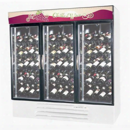 "Mmrr72-1-w-led Marketmax 75"" Three Section Dual Temperature Glass Door Reach-in Wine Merchandiser With Led Lighting 72 Cu.ft. Capacity White Exterior And"