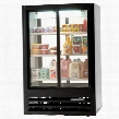 LV17-1-B-54-LED LumaVue Two Section Refrigerated Sliding Glass Door Pass-Through Merchandiser with LED Lighting 17.5 cu.ft. Capacity Black Exterior and