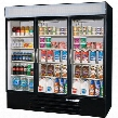 "MMF72-5-B-EL MarketMax 75"" Three Section Glass Door Reach-In Merchandiser Freezer with LED Lighting 72 cu.ft. Capacity Black Exterior Electronic Lock and"