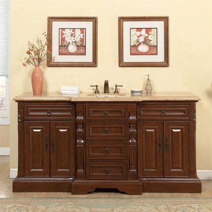 "V0280tw72c 72"" Single Sink Cabinet With 7 Drawers 4 Doors Travertine Top And Undermount White Ceramic Sink (3-hole) In Brown"