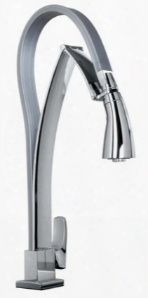 25757-81 Single Hole Kitchen Faucet With Dual Function Pull-out Spout Designer Brushed Nickel