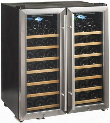 272480251w Thermoelectric Energy Efficient Dual Zone Wine Cooler With 48 Bottle Capacity Silent Cooling Technology Wood Front Shelves And Led Lighting: Glass