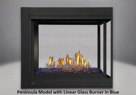 Bhd4pgn Ascent Multi-view Direct Vent Gas Fireplace Up To 30 000 Btus With Safety Screen Linear Topaz Glass Burner And Modulating Proflame Ii Remote Control
