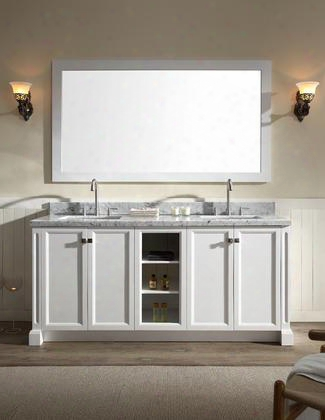 "C073dwht Ariel Westwood 73"" Double Sink Vanity Set With Mirror In"