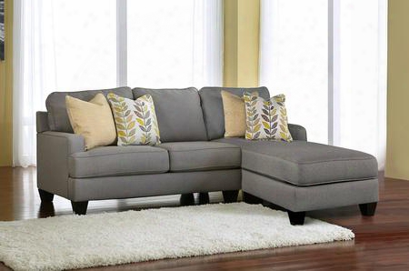 Chamberly 24302-55-17 2-piece Fabric Sectional Sofa With Right Corner Chaise Left Loveseat And Pillows Included In Alloy
