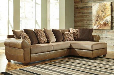 Declain 86302-17-66 2pc Sectional Sofa With Right Arm Facing Chaise Left Arm Facing Sofa Pillow Back Cushions And Jumbo Stitching In Sand
