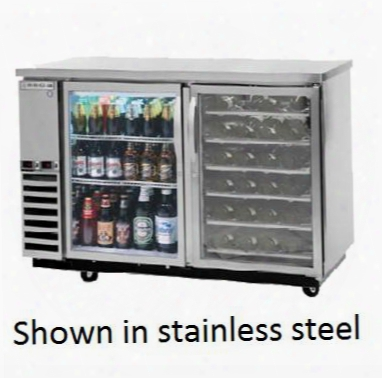 Dz58g-1-b-pwd Dual-zone Back Bar In Black With Two Glass Doors And Pull Out Wine Drawers On
