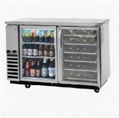 Dz58g-1-s-pwd Dual-zone Back Bar In Stainless Steel With Two Glass Doors And Pull Out Wine Drawers On