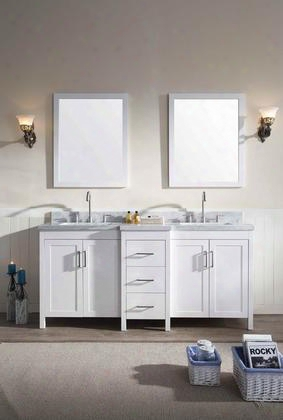 "E073dwht Ariel Hollandale 73"" Double Sink Vanity Set With Marble Top Mirror Three Drawers And Four Doors In"