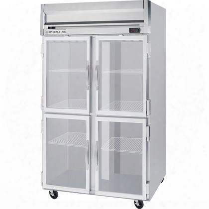 "Hfs2-1hg 52"" Horizon Series Two Section Glass Half Door Reach-in Freezer 49 Cu.ft. Capacity Stainless Steel Front Gray Painted Sides And Stainless Steel"
