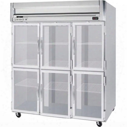 Hrs3-1hg Three Section Glass Half Door Reach-in Refrigerator Stainless Steel Exterior And Interior